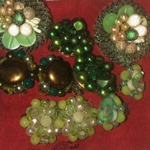 Bundle of 5 Pair of Vintage Earrings/Green